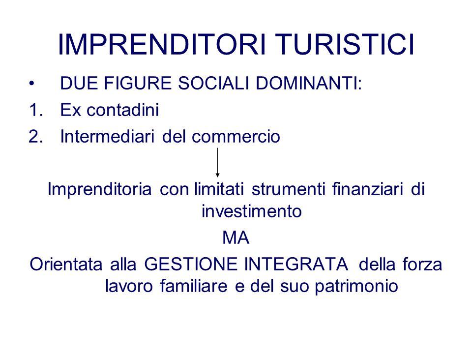 IMPRENDITORI TURISTICI DUE FIGURE SOCIALI DOMINANTI: 1.Ex contadini 2.Intermediari del commercio Imprenditoria con limitati strumenti finanziari di in