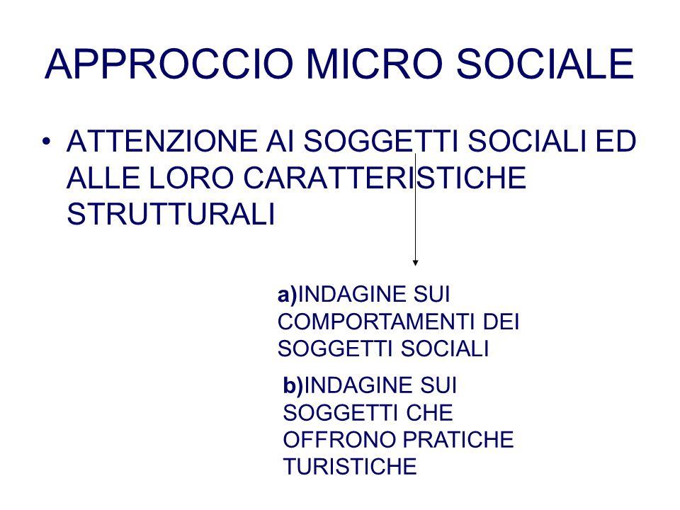 APPROCCIO MICRO SOCIALE ATTENZIONE AI SOGGETTI SOCIALI ED ALLE LORO CARATTERISTICHE STRUTTURALI a)INDAGINE SUI COMPORTAMENTI DEI SOGGETTI SOCIALI b)IN
