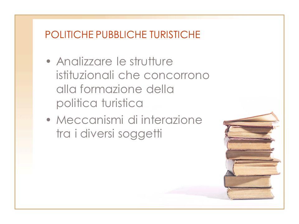 POLITICHE PUBBLICHE TURISTICHE Analizzare le strutture istituzionali che concorrono alla formazione della politica turistica Meccanismi di interazione