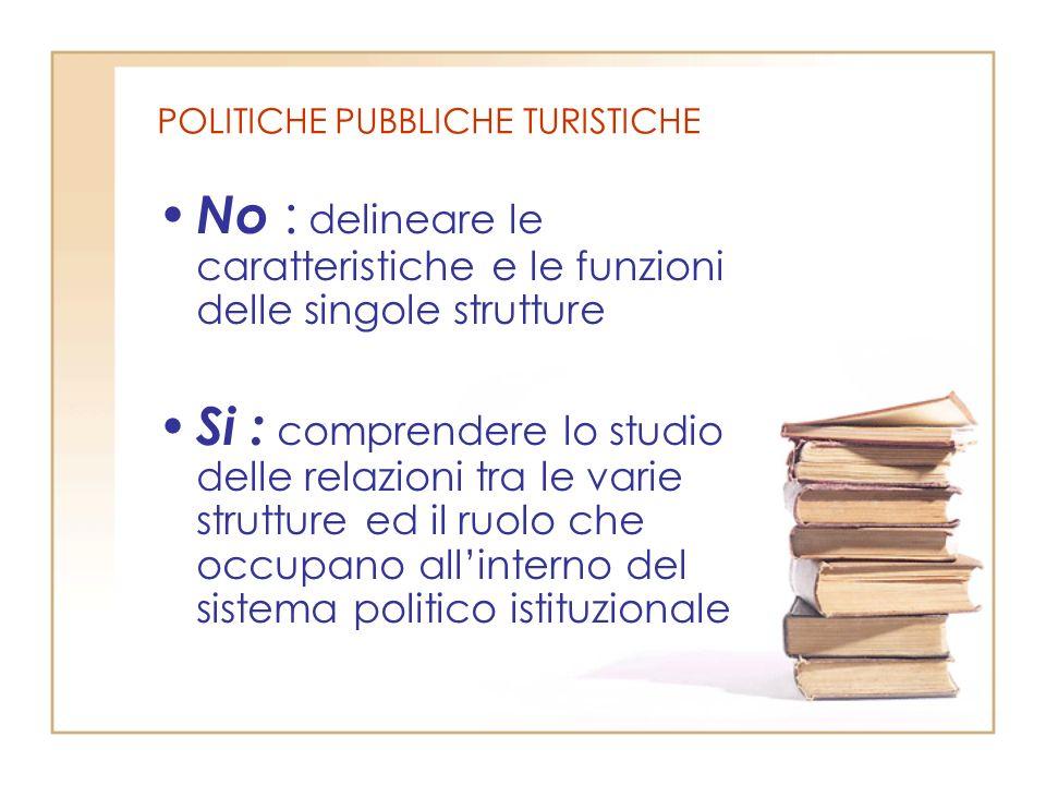 POLITICHE PUBBLICHE TURISTICHE No : delineare le caratteristiche e le funzioni delle singole strutture Si : comprendere lo studio delle relazioni tra