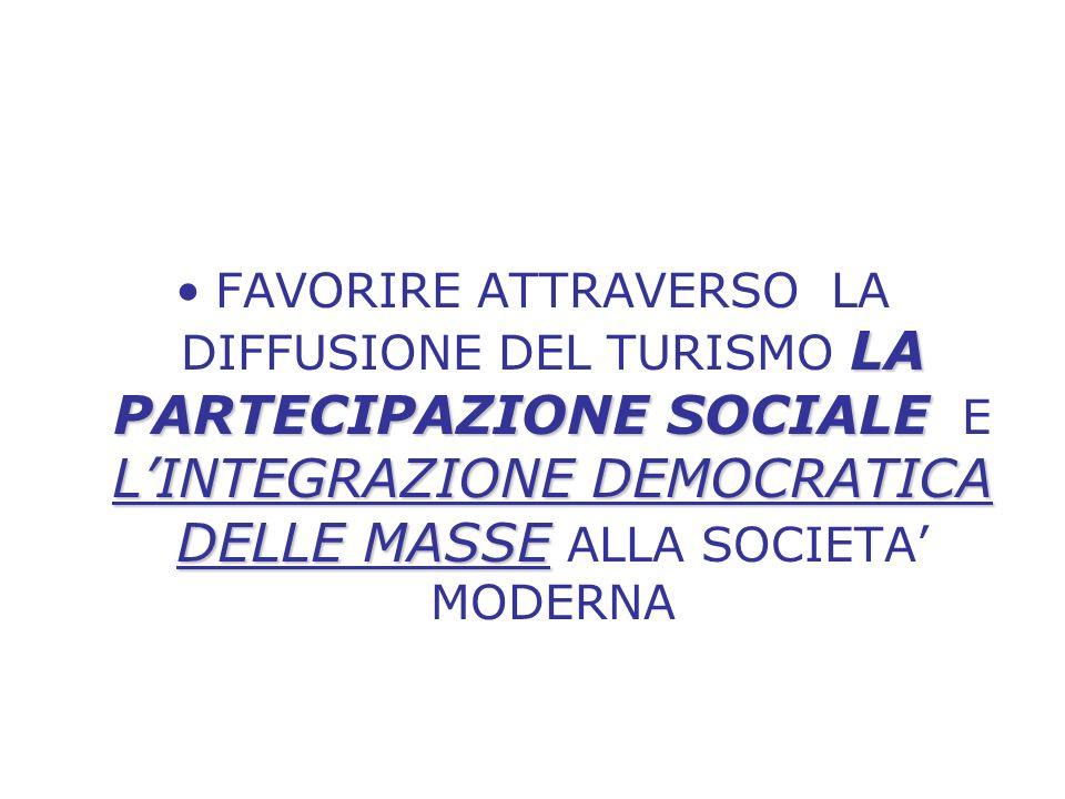 LA PARTECIPAZIONE SOCIALE LINTEGRAZIONE DEMOCRATICA DELLE MASSEFAVORIRE ATTRAVERSO LA DIFFUSIONE DEL TURISMO LA PARTECIPAZIONE SOCIALE E LINTEGRAZIONE DEMOCRATICA DELLE MASSE ALLA SOCIETA MODERNA