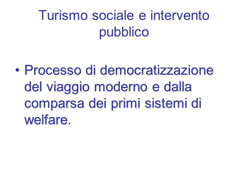 Turismo sociale e intervento pubblico Processo di democratizzazione del viaggio moderno e dalla comparsa dei primi sistemi di welfareProcesso di democratizzazione del viaggio moderno e dalla comparsa dei primi sistemi di welfare.
