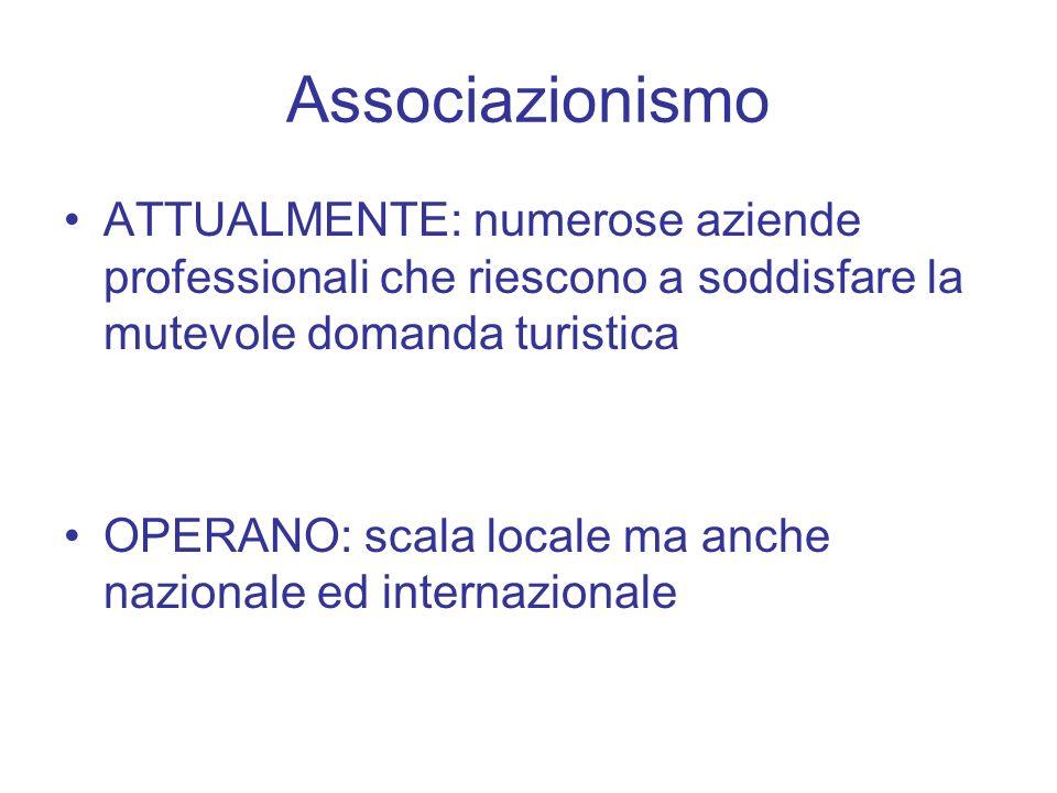 Associazionismo ATTUALMENTE: numerose aziende professionali che riescono a soddisfare la mutevole domanda turistica OPERANO: scala locale ma anche nazionale ed internazionale