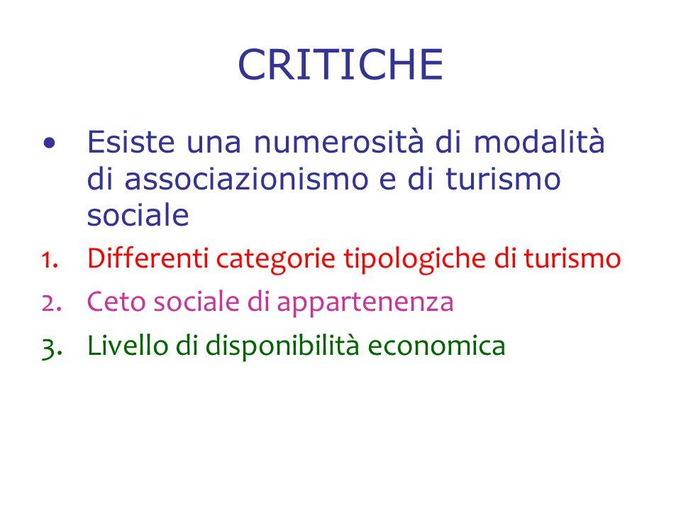 CRITICHE Esiste una numerosità di modalità di associazionismo e di turismo sociale 1.Differenti categorie tipologiche di turismo 2.Ceto sociale di appartenenza 3.Livello di disponibilità economica