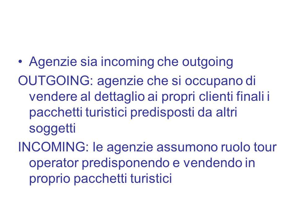 Agenzie sia incoming che outgoing OUTGOING: agenzie che si occupano di vendere al dettaglio ai propri clienti finali i pacchetti turistici predisposti