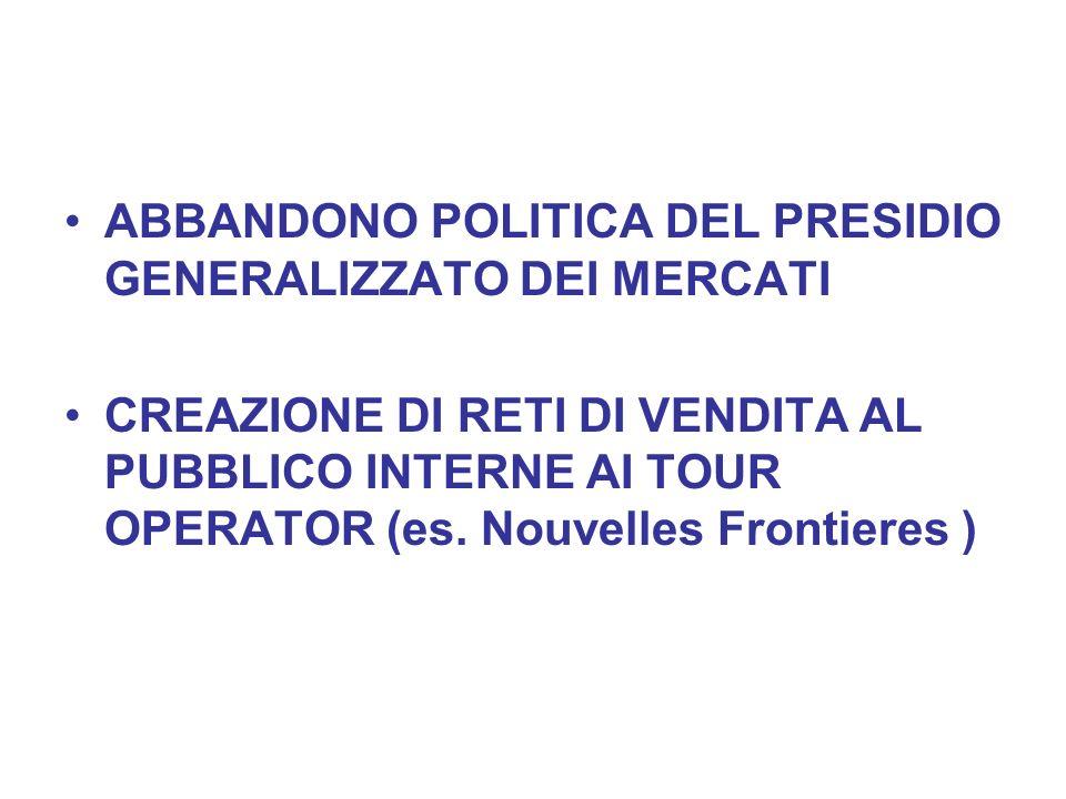 ABBANDONO POLITICA DEL PRESIDIO GENERALIZZATO DEI MERCATI CREAZIONE DI RETI DI VENDITA AL PUBBLICO INTERNE AI TOUR OPERATOR (es. Nouvelles Frontieres