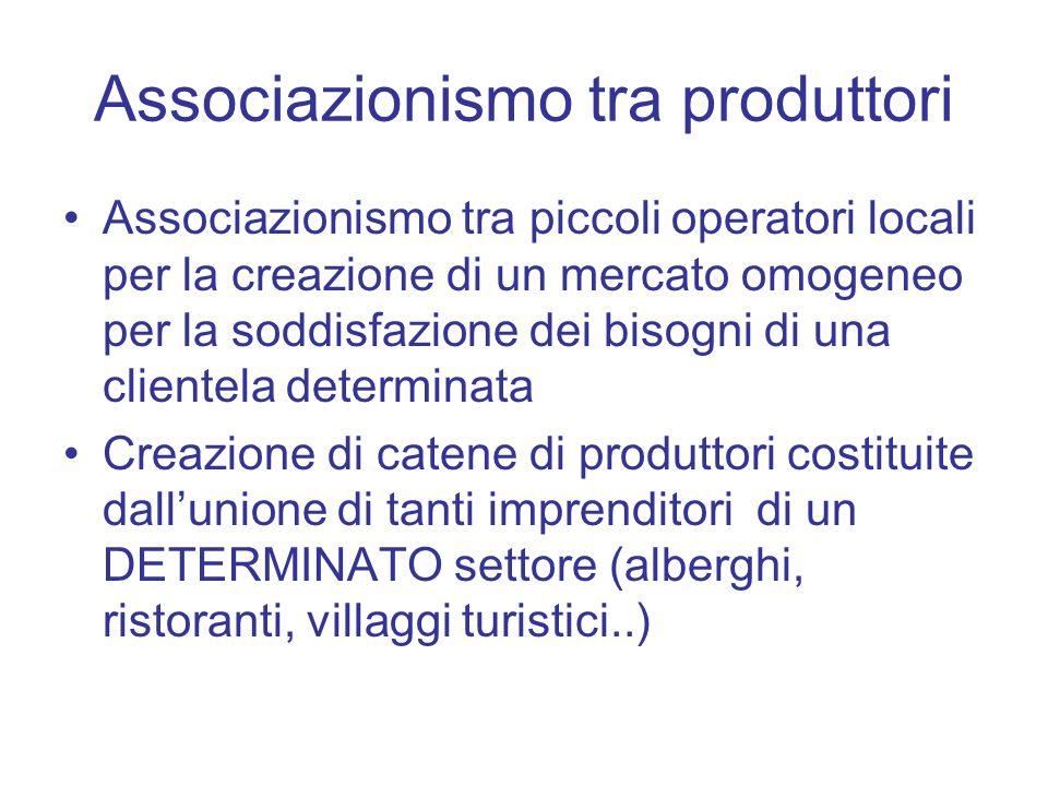 Associazionismo tra produttori Associazionismo tra piccoli operatori locali per la creazione di un mercato omogeneo per la soddisfazione dei bisogni d