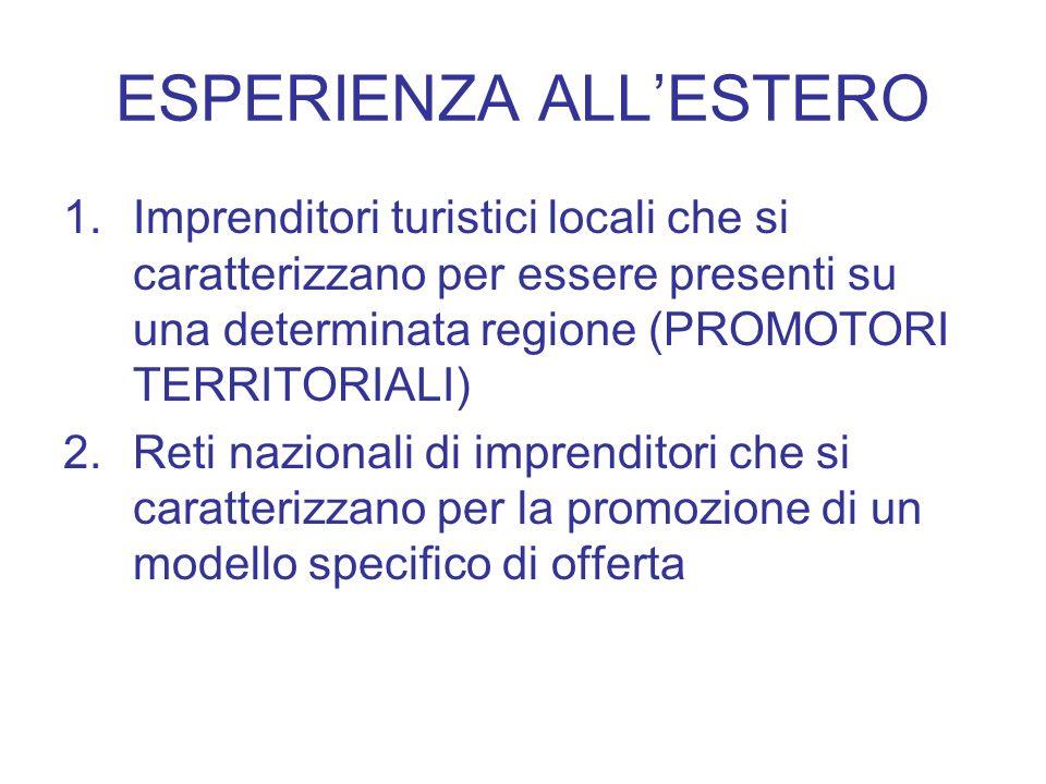 ESPERIENZA ALLESTERO 1.Imprenditori turistici locali che si caratterizzano per essere presenti su una determinata regione (PROMOTORI TERRITORIALI) 2.R