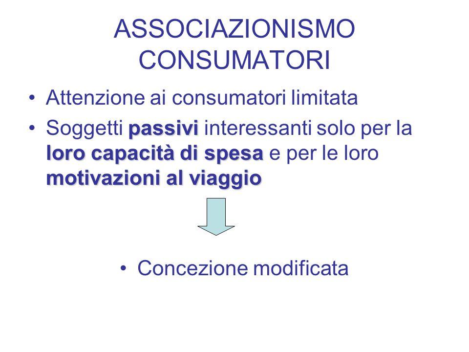 ASSOCIAZIONISMO CONSUMATORI Attenzione ai consumatori limitata passivi loro capacità di spesa motivazioni al viaggioSoggetti passivi interessanti solo