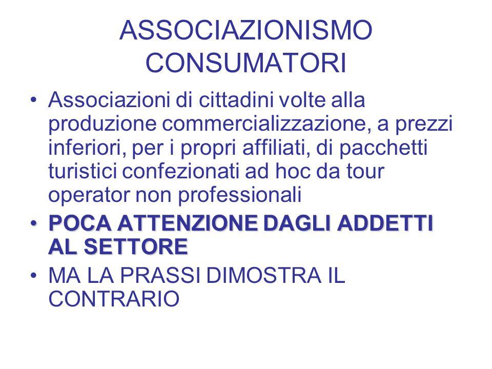 ASSOCIAZIONISMO CONSUMATORI Associazioni di cittadini volte alla produzione commercializzazione, a prezzi inferiori, per i propri affiliati, di pacche