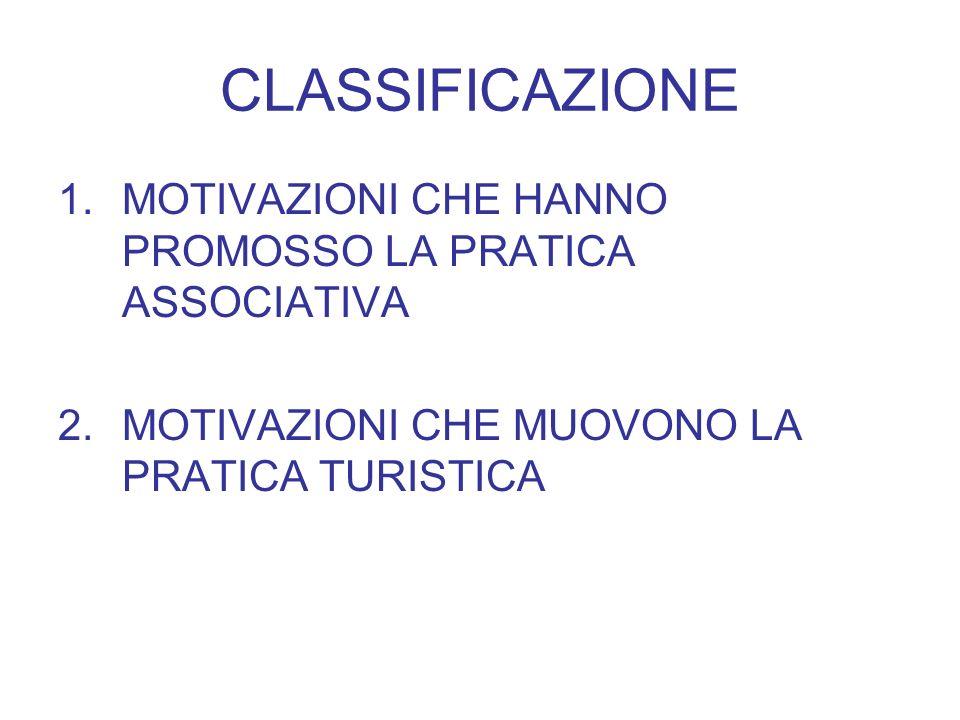 CLASSIFICAZIONE 1.MOTIVAZIONI CHE HANNO PROMOSSO LA PRATICA ASSOCIATIVA 2.MOTIVAZIONI CHE MUOVONO LA PRATICA TURISTICA
