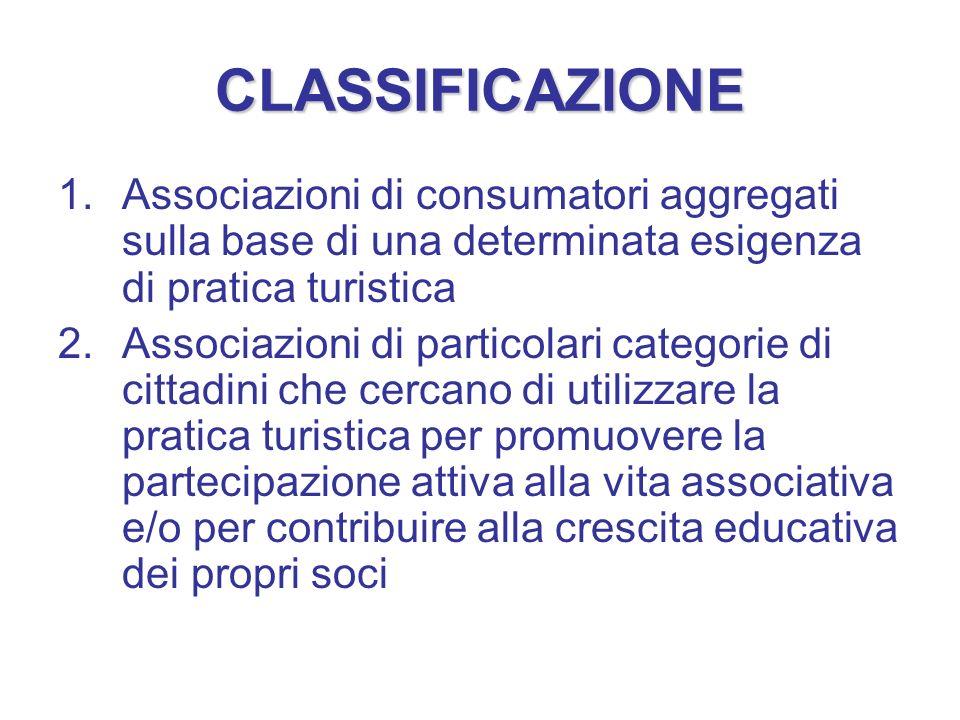 CLASSIFICAZIONE 1.Associazioni di consumatori aggregati sulla base di una determinata esigenza di pratica turistica 2.Associazioni di particolari cate