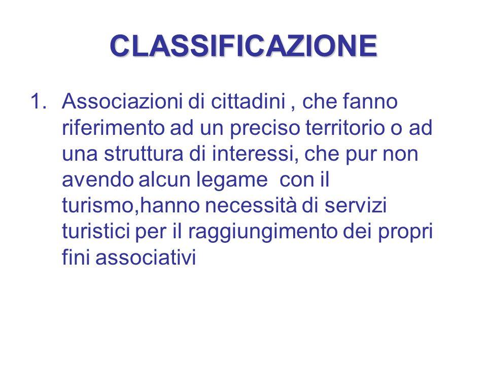 CLASSIFICAZIONE 1.Associazioni di cittadini, che fanno riferimento ad un preciso territorio o ad una struttura di interessi, che pur non avendo alcun