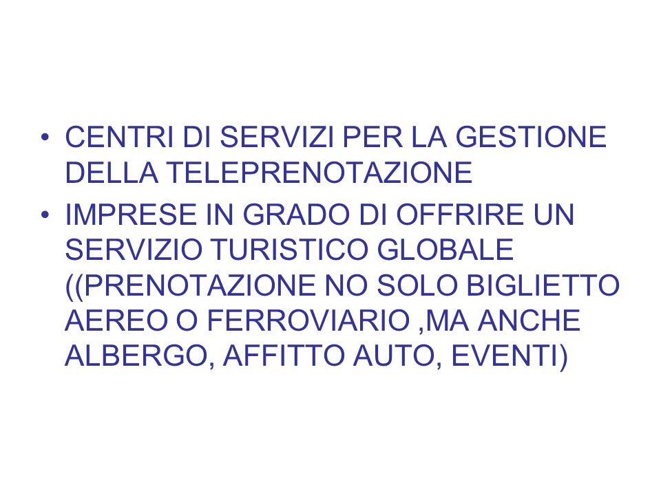 CENTRI DI SERVIZI PER LA GESTIONE DELLA TELEPRENOTAZIONE IMPRESE IN GRADO DI OFFRIRE UN SERVIZIO TURISTICO GLOBALE ((PRENOTAZIONE NO SOLO BIGLIETTO AE