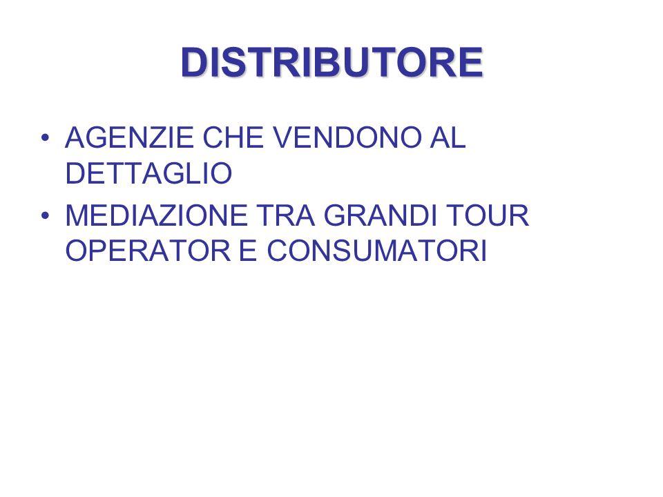 DISTRIBUTORE AGENZIE CHE VENDONO AL DETTAGLIO MEDIAZIONE TRA GRANDI TOUR OPERATOR E CONSUMATORI