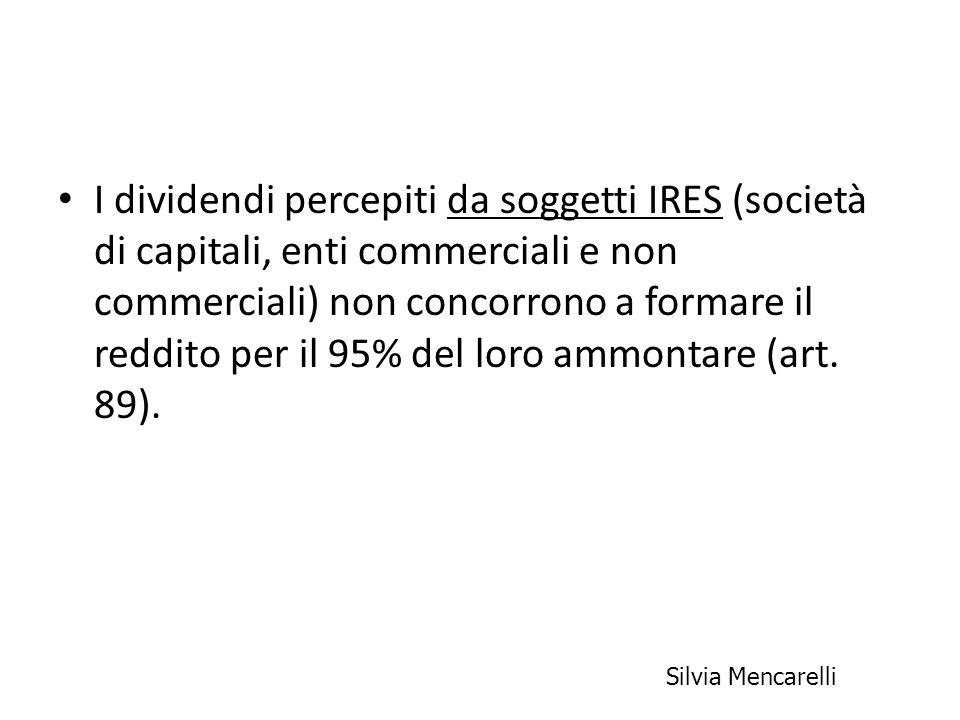 I dividendi percepiti da soggetti IRES (società di capitali, enti commerciali e non commerciali) non concorrono a formare il reddito per il 95% del lo