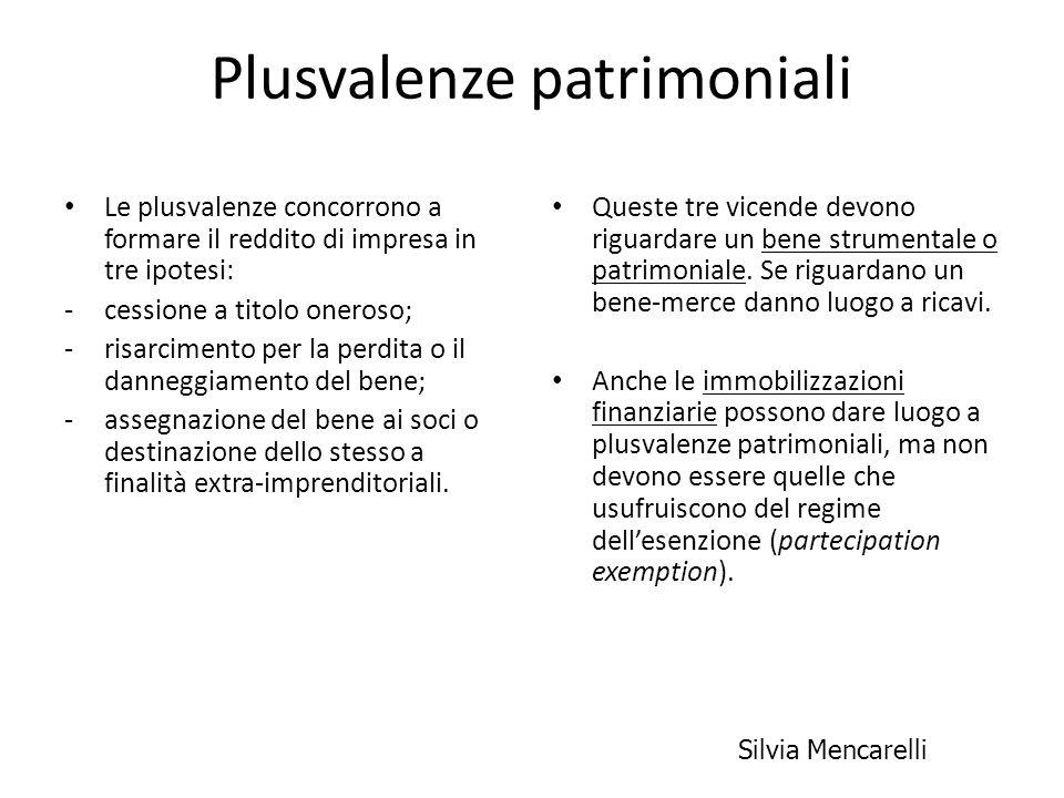 Plusvalenze patrimoniali Le plusvalenze concorrono a formare il reddito di impresa in tre ipotesi: -cessione a titolo oneroso; -risarcimento per la pe