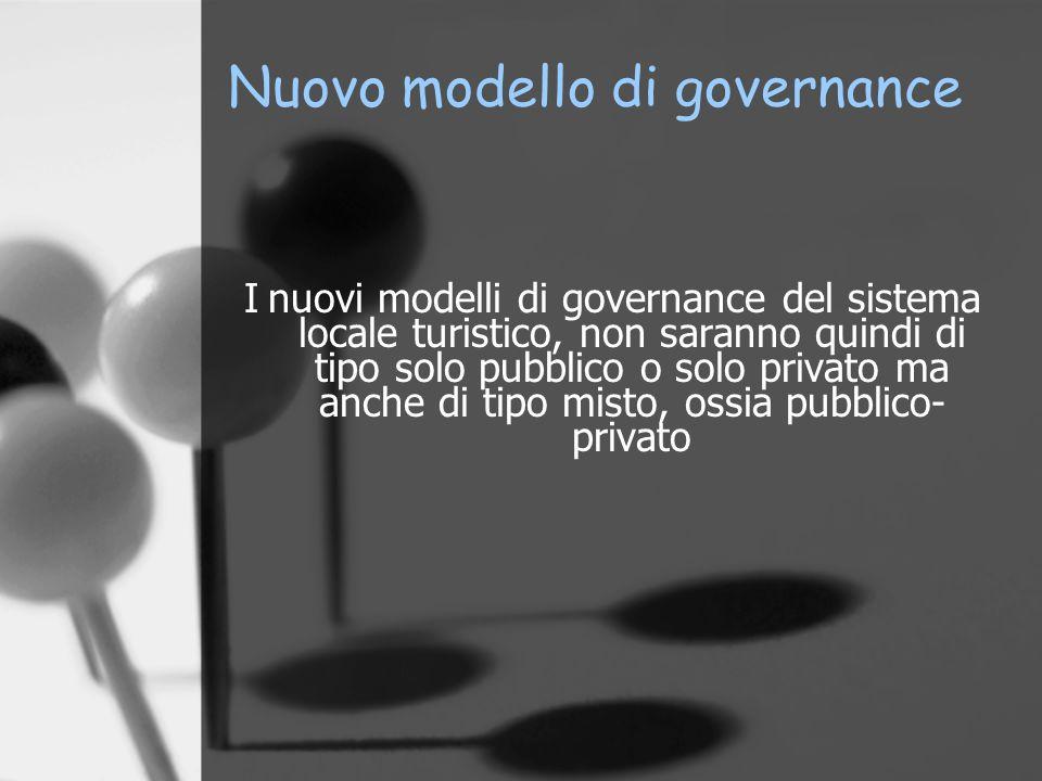 Nuovo modello di governance I nuovi modelli di governance del sistema locale turistico, non saranno quindi di tipo solo pubblico o solo privato ma anc
