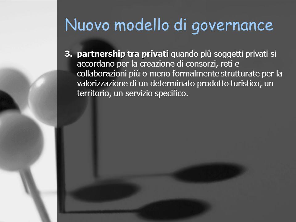 Nuovo modello di governance 3.partnership tra privati 3.partnership tra privati quando più soggetti privati si accordano per la creazione di consorzi,