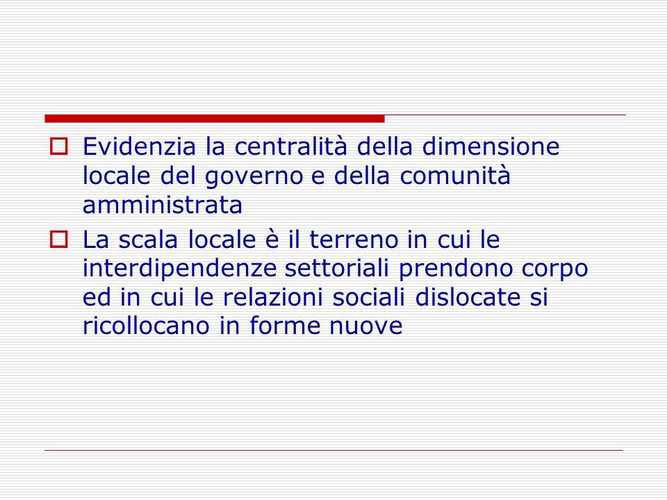 Evidenzia la centralità della dimensione locale del governo e della comunità amministrata La scala locale è il terreno in cui le interdipendenze setto