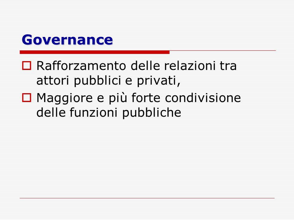 Governance Rafforzamento delle relazioni tra attori pubblici e privati, Maggiore e più forte condivisione delle funzioni pubbliche