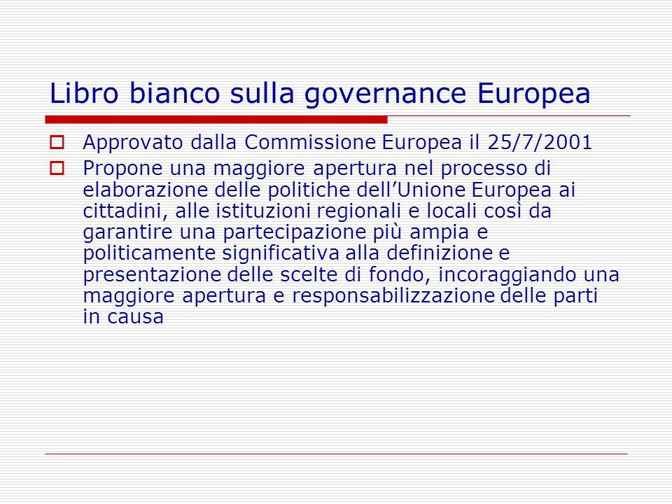 Libro bianco sulla governance Europea Approvato dalla Commissione Europea il 25/7/2001 Propone una maggiore apertura nel processo di elaborazione dell