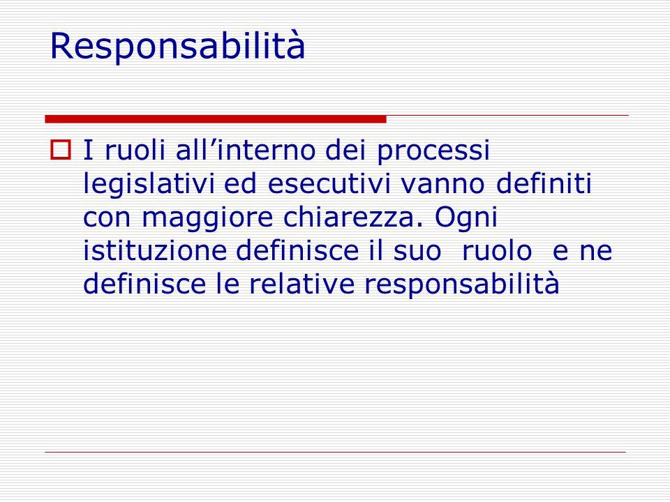 Responsabilità I ruoli allinterno dei processi legislativi ed esecutivi vanno definiti con maggiore chiarezza. Ogni istituzione definisce il suo ruolo