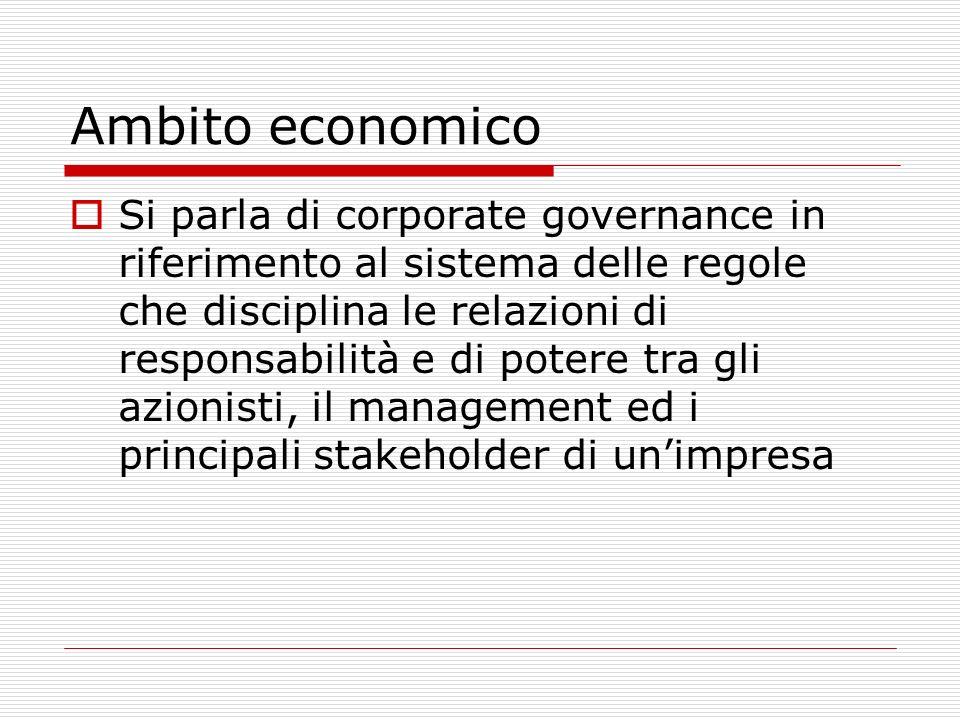 Ambito economico Si parla di corporate governance in riferimento al sistema delle regole che disciplina le relazioni di responsabilità e di potere tra