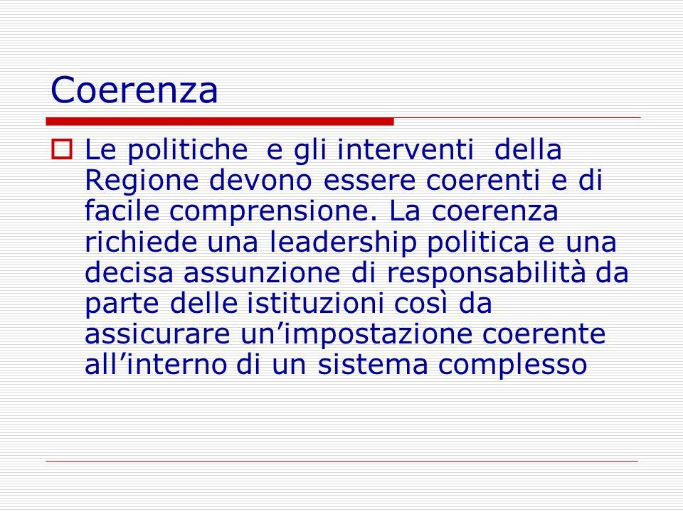 Coerenza Le politiche e gli interventi della Regione devono essere coerenti e di facile comprensione. La coerenza richiede una leadership politica e u