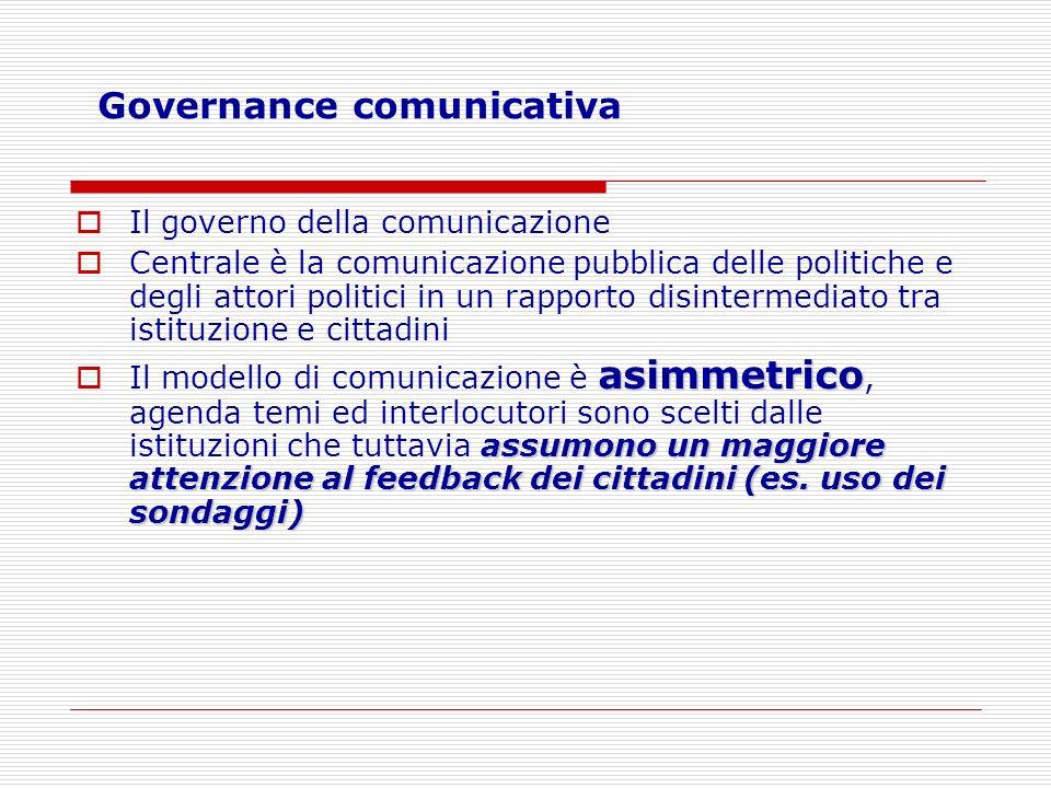 Governance comunicativa Il governo della comunicazione Centrale è la comunicazione pubblica delle politiche e degli attori politici in un rapporto dis