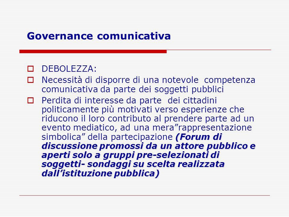 Governance comunicativa DEBOLEZZA: Necessità di disporre di una notevole competenza comunicativa da parte dei soggetti pubblici (Forum di discussione