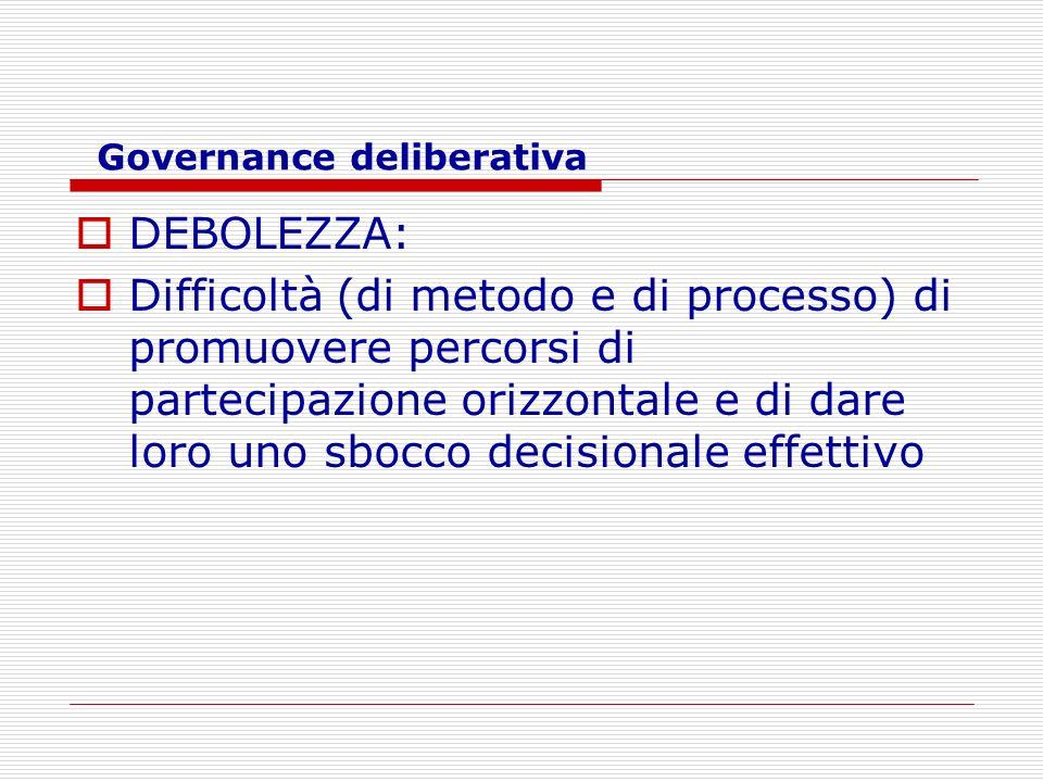 Governance deliberativa DEBOLEZZA: Difficoltà (di metodo e di processo) di promuovere percorsi di partecipazione orizzontale e di dare loro uno sbocco