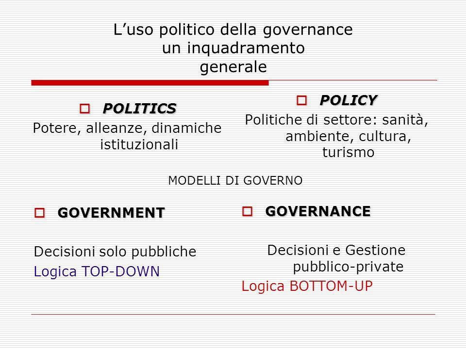Luso politico della governance un inquadramento generale POLITICS POLITICS Potere, alleanze, dinamiche istituzionali POLICY POLICY Politiche di settor