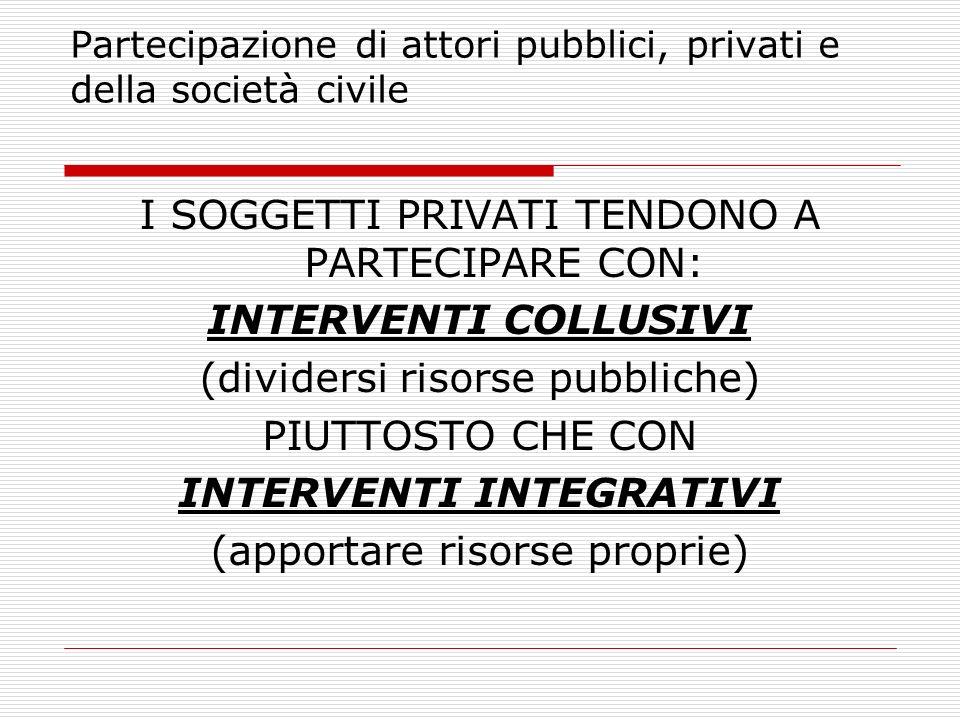 Partecipazione di attori pubblici, privati e della società civile I SOGGETTI PRIVATI TENDONO A PARTECIPARE CON: INTERVENTI COLLUSIVI (dividersi risors