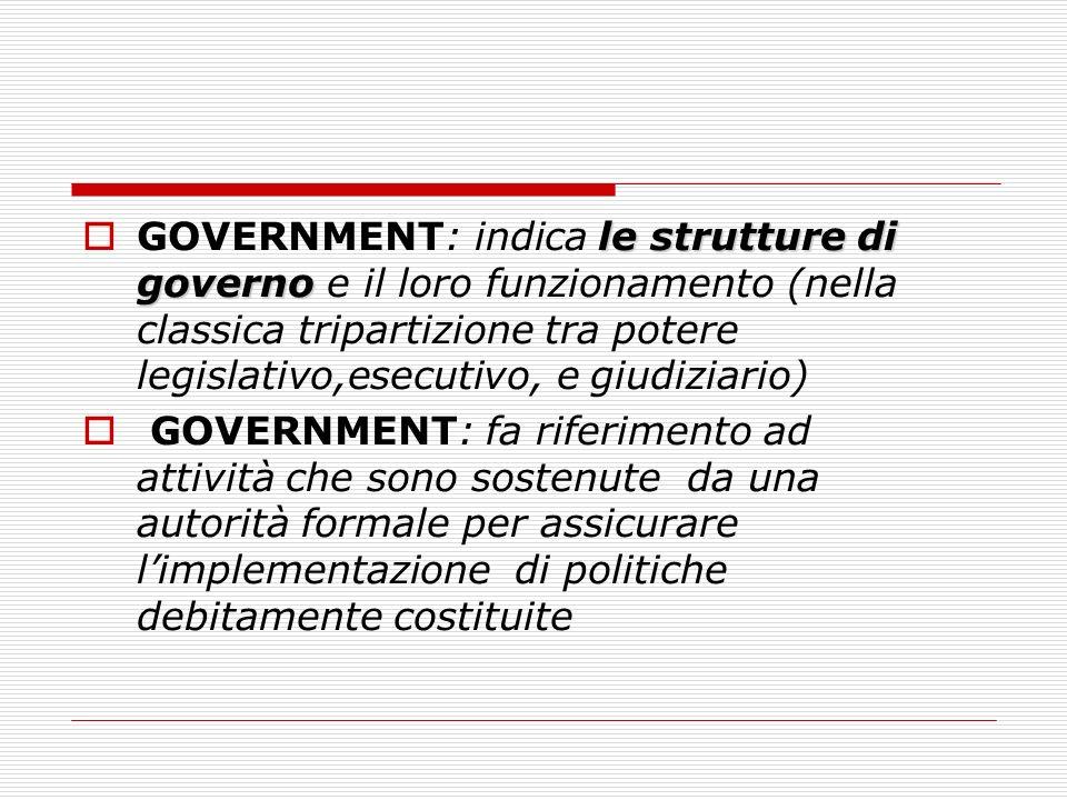 le strutture di governo GOVERNMENT: indica le strutture di governo e il loro funzionamento (nella classica tripartizione tra potere legislativo,esecut