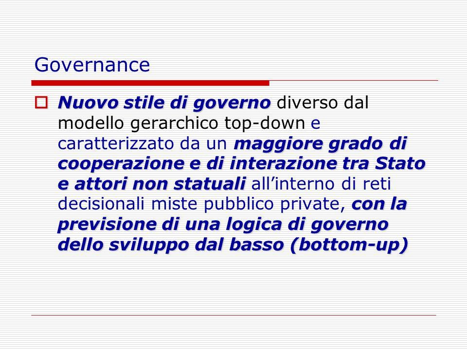 Governance Nuovo stile di governo maggiore grado di cooperazione e di interazione tra Stato e attori non statuali con la previsione di una logica di g