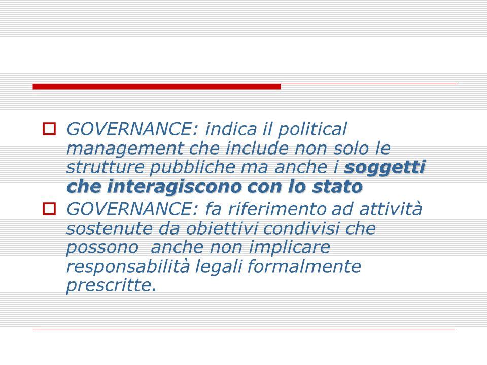 soggetti che interagiscono con lo stato GOVERNANCE: indica il political management che include non solo le strutture pubbliche ma anche i soggetti che