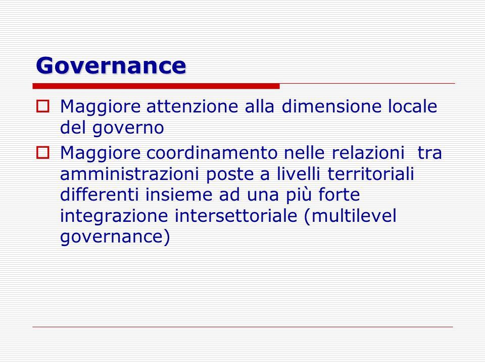 Governance Maggiore attenzione alla dimensione locale del governo Maggiore coordinamento nelle relazioni tra amministrazioni poste a livelli territori