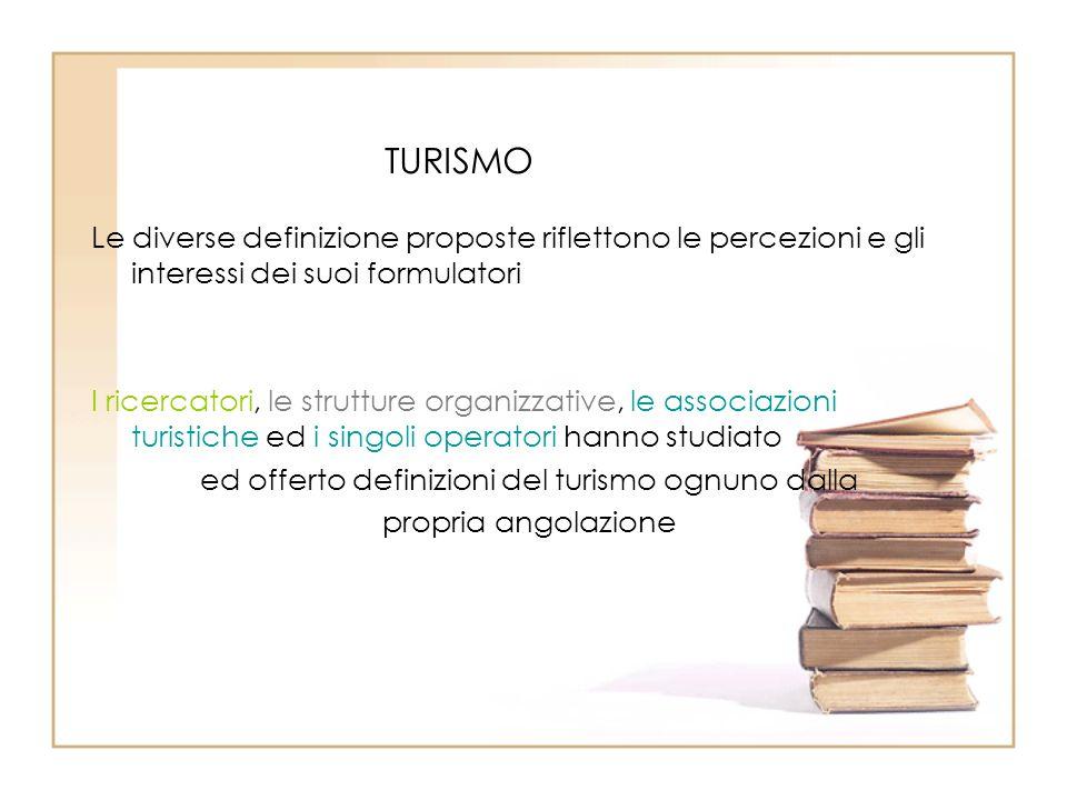 TURISMO Le diverse definizione proposte riflettono le percezioni e gli interessi dei suoi formulatori I ricercatori, le strutture organizzative, le as