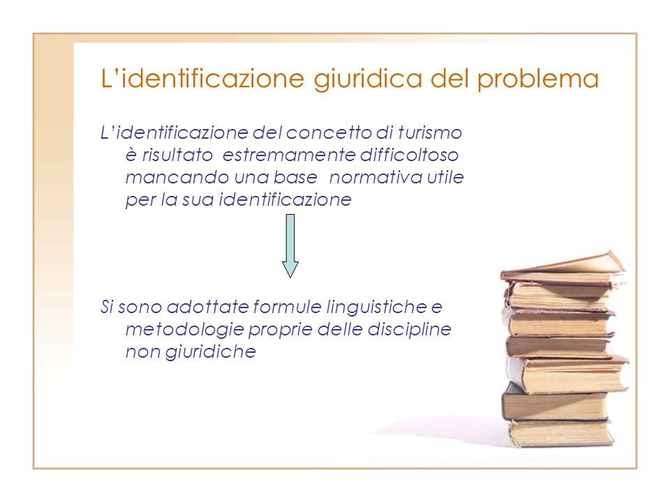 Lidentificazione giuridica del problema Lidentificazione del concetto di turismo è risultato estremamente difficoltoso mancando una base normativa uti