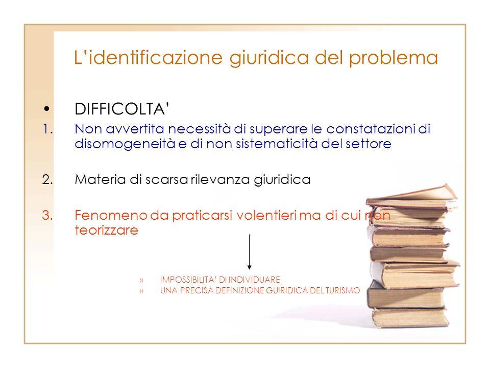 Lidentificazione giuridica del problema DIFFICOLTA 1.Non avvertita necessità di superare le constatazioni di disomogeneità e di non sistematicità del