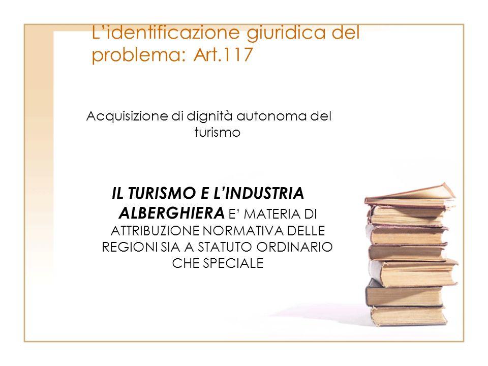 Lidentificazione giuridica del problema: Art.117 Acquisizione di dignità autonoma del turismo IL TURISMO E LINDUSTRIA ALBERGHIERA E MATERIA DI ATTRIBU