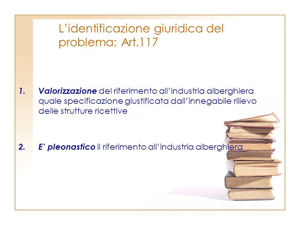 Lidentificazione giuridica del problema: Art.117 1.Valorizzazione del riferimento allindustria alberghiera quale specificazione giustificata dallinneg