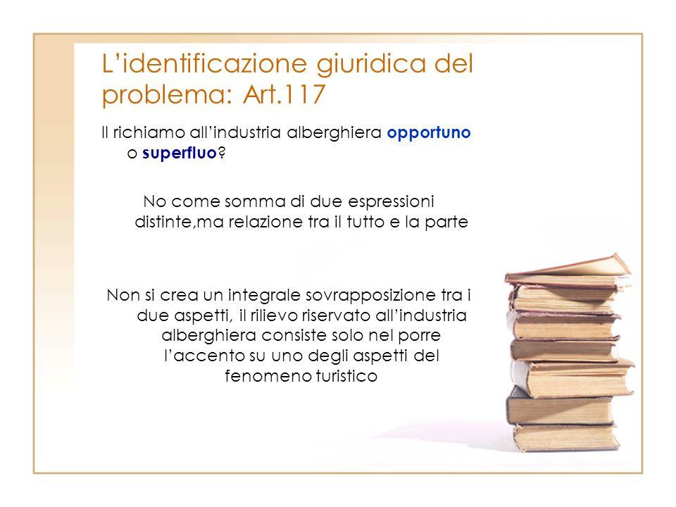 Lidentificazione giuridica del problema: Art.117 Il richiamo allindustria alberghiera opportuno o superfluo ? No come somma di due espressioni distint