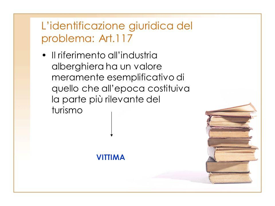 Lidentificazione giuridica del problema: Art.117 Il riferimento allindustria alberghiera ha un valore meramente esemplificativo di quello che allepoca