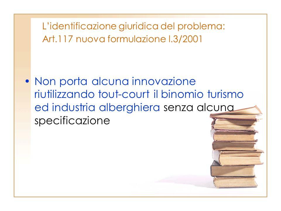 Lidentificazione giuridica del problema: Art.117 nuova formulazione l.3/2001 Non porta alcuna innovazione riutilizzando tout-court il binomio turismo