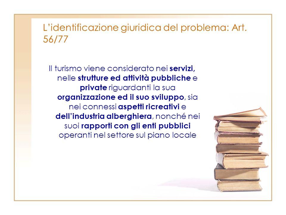 Lidentificazione giuridica del problema: Art. 56/77 Il turismo viene considerato nei servizi, nelle strutture ed attività pubbliche e private riguarda