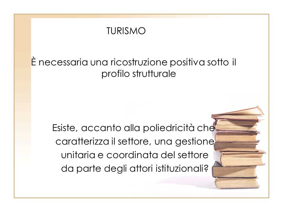 TURISMO È necessaria una ricostruzione positiva sotto il profilo strutturale Esiste, accanto alla poliedricità che caratterizza il settore, una gestio