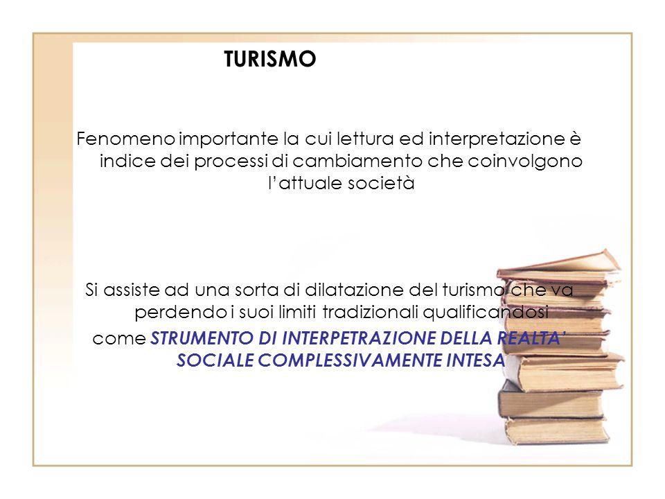 TURISMO Fenomeno importante la cui lettura ed interpretazione è indice dei processi di cambiamento che coinvolgono lattuale società Si assiste ad una
