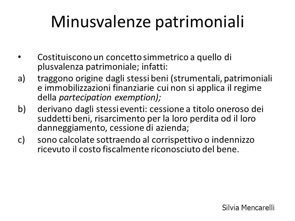Minusvalenze patrimoniali Costituiscono un concetto simmetrico a quello di plusvalenza patrimoniale; infatti: a)traggono origine dagli stessi beni (st
